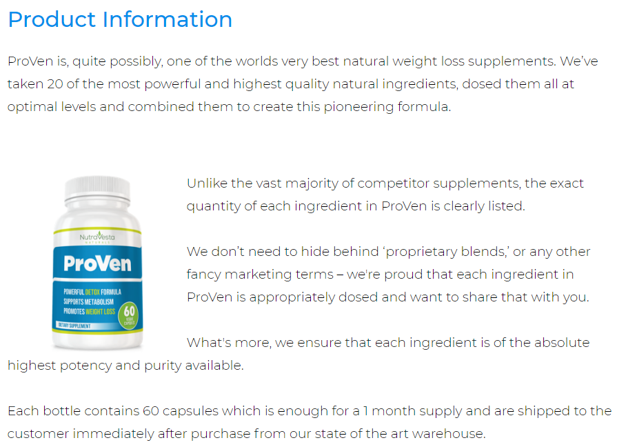 Product Information of Proven