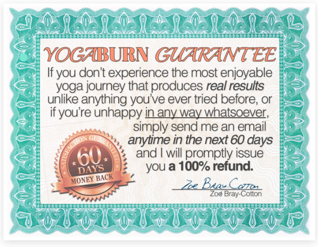 Yoga Burn's 60 Day No Questions Asked Money Back Guarantee