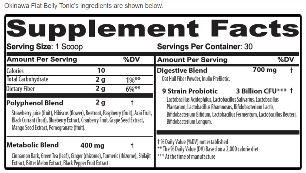 Okinawa Flat Belly Tonic Supplement Facts